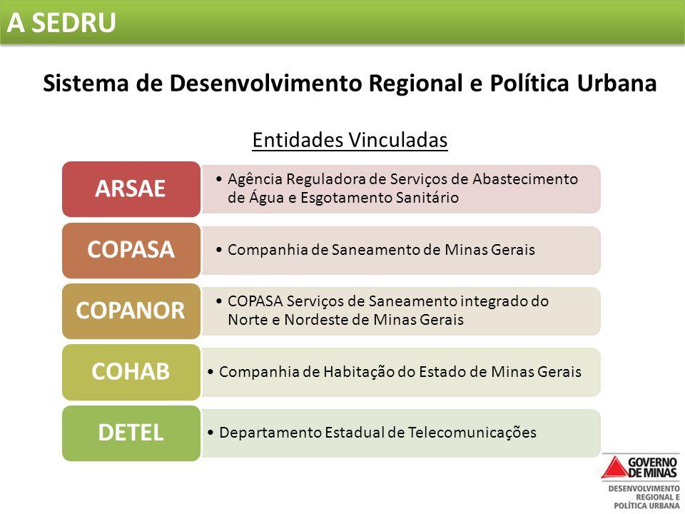 A SEDRU  Missão: promover a política urbana e o desenvolvimento regional, visando à qualidade de vida e a sustentabilidade das cidades mineiras.