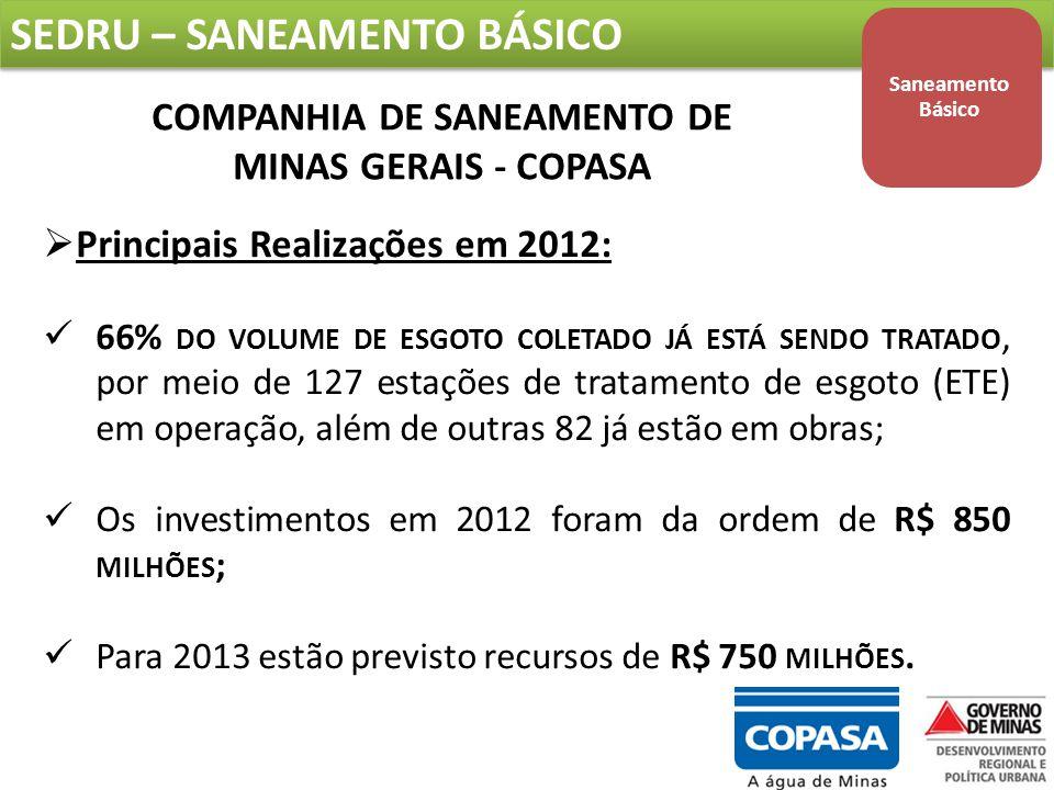 SEDRU – SANEAMENTO BÁSICO Saneamento Básico COMPANHIA DE SANEAMENTO DE MINAS GERAIS - COPASA  Principais Realizações em 2012: 66% DO VOLUME DE ESGOTO COLETADO JÁ ESTÁ SENDO TRATADO, por meio de 127 estações de tratamento de esgoto (ETE) em operação, além de outras 82 já estão em obras; Os investimentos em 2012 foram da ordem de R$ 850 MILHÕES ; Para 2013 estão previsto recursos de R$ 750 MILHÕES.