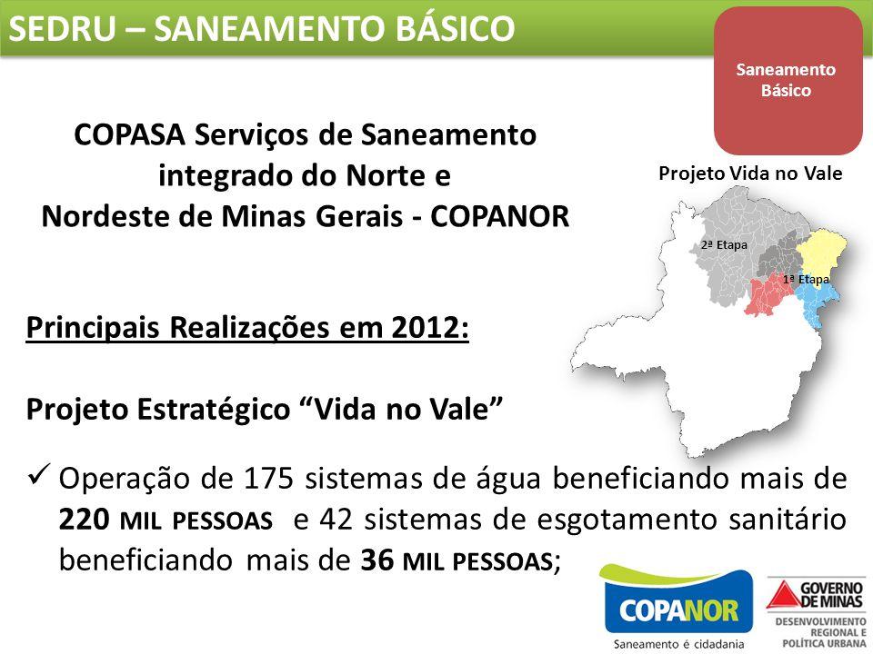 Principais Realizações em 2012: Projeto Estratégico Vida no Vale Operação de 175 sistemas de água beneficiando mais de 220 MIL PESSOAS e 42 sistemas de esgotamento sanitário beneficiando mais de 36 MIL PESSOAS ; COPASA Serviços de Saneamento integrado do Norte e Nordeste de Minas Gerais - COPANOR Projeto Vida no Vale 2ª Etapa 1ª Etapa SEDRU – SANEAMENTO BÁSICO Saneamento Básico