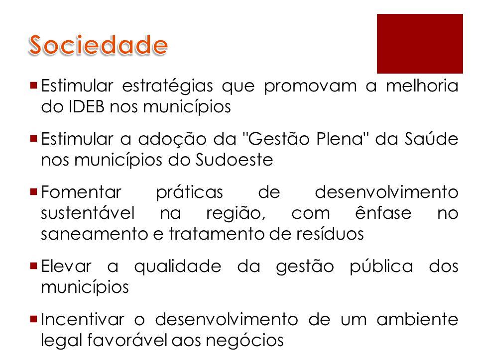  Estimular estratégias que promovam a melhoria do IDEB nos municípios  Estimular a adoção da