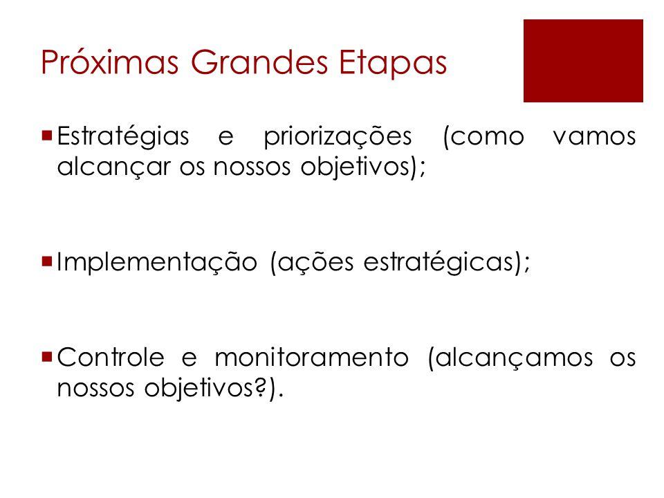 Próximas Grandes Etapas  Estratégias e priorizações (como vamos alcançar os nossos objetivos);  Implementação (ações estratégicas);  Controle e mon