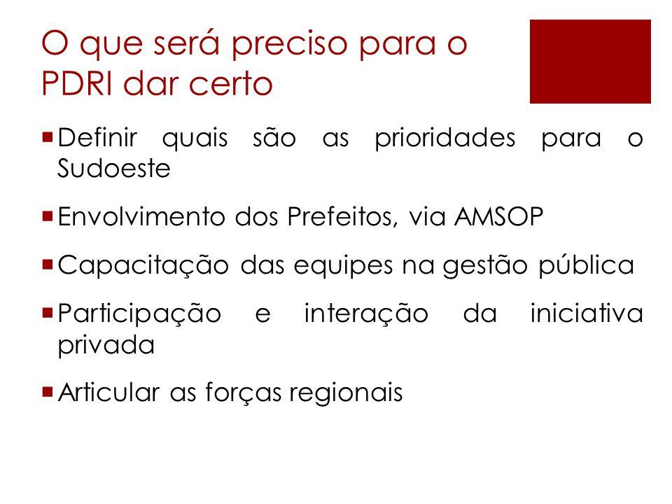 O que será preciso para o PDRI dar certo  Definir quais são as prioridades para o Sudoeste  Envolvimento dos Prefeitos, via AMSOP  Capacitação das equipes na gestão pública  Participação e interação da iniciativa privada  Articular as forças regionais