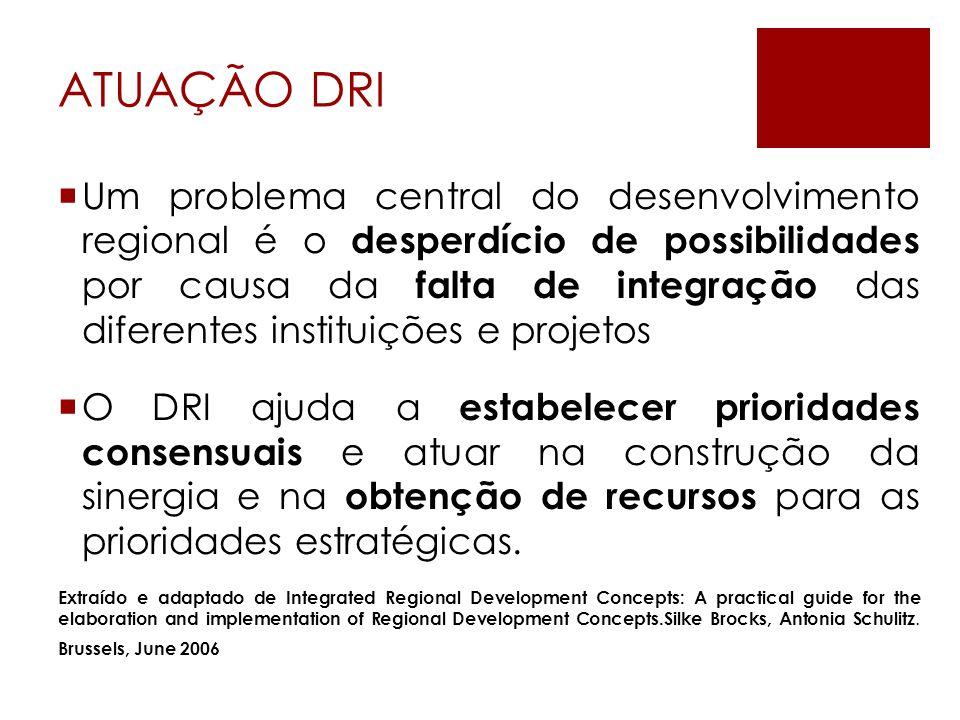 ATUAÇÃO DRI  Um problema central do desenvolvimento regional é o desperdício de possibilidades por causa da falta de integração das diferentes instituições e projetos  O DRI ajuda a estabelecer prioridades consensuais e atuar na construção da sinergia e na obtenção de recursos para as prioridades estratégicas.