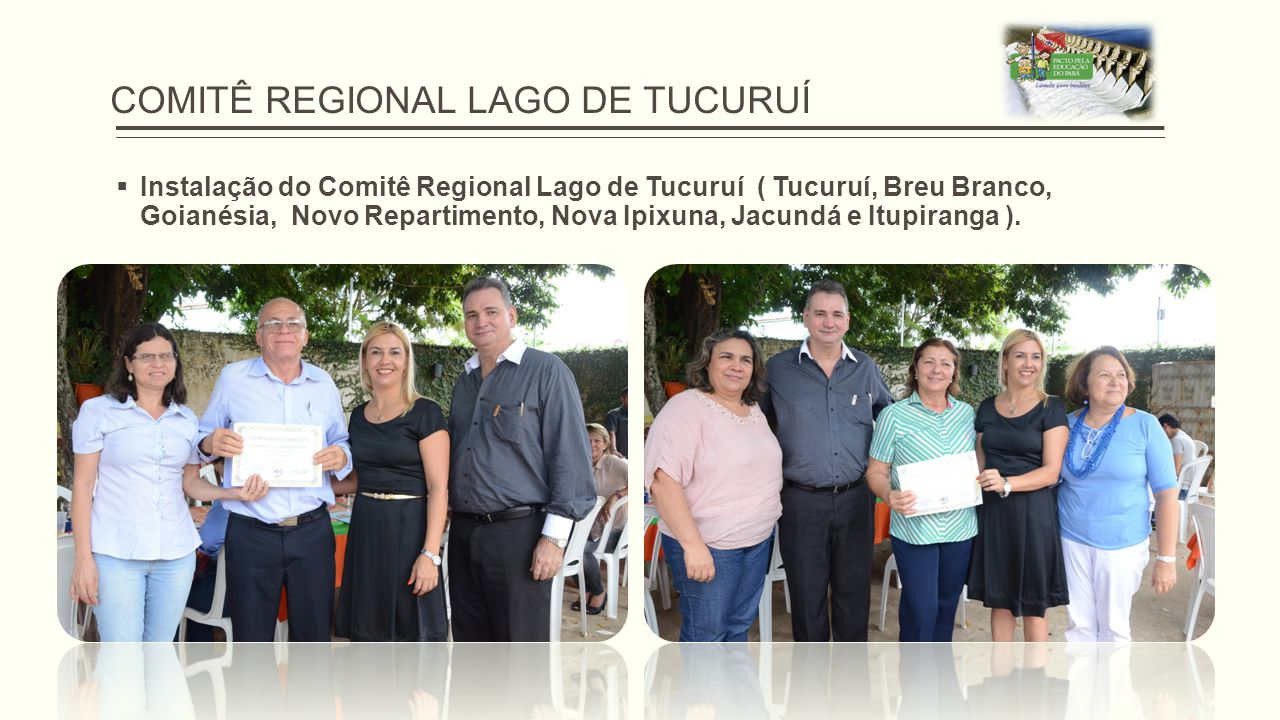 COMITÊ REGIONAL LAGO DE TUCURUÍ  Instalação do Comitê Regional Lago de Tucuruí ( Tucuruí, Breu Branco, Goianésia, Novo Repartimento, Nova Ipixuna, Ja