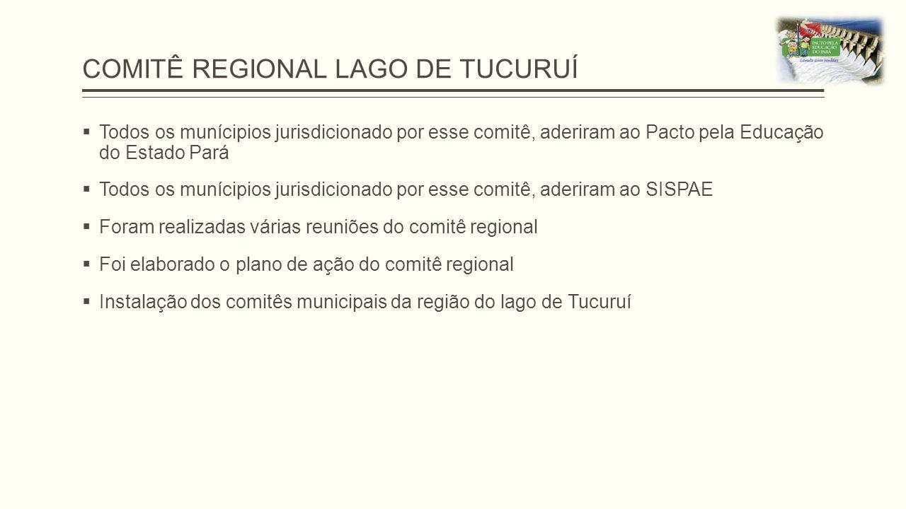 COMITÊ REGIONAL LAGO DE TUCURUÍ  Todos os munícipios jurisdicionado por esse comitê, aderiram ao Pacto pela Educação do Estado Pará  Todos os muníci