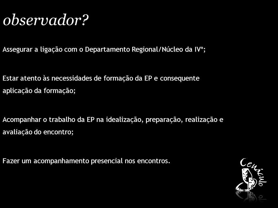 observador? Assegurar a ligação com o Departamento Regional/Núcleo da IVª; Estar atento às necessidades de formação da EP e consequente aplicação da f