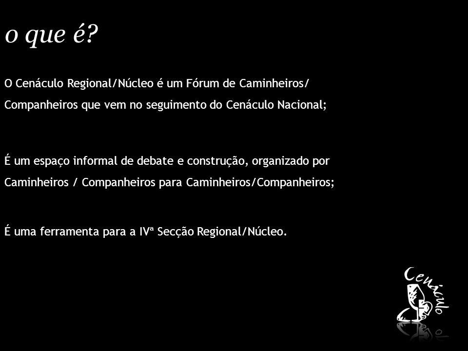 o que é? O Cenáculo Regional/Núcleo é um Fórum de Caminheiros/ Companheiros que vem no seguimento do Cenáculo Nacional; É um espaço informal de debate