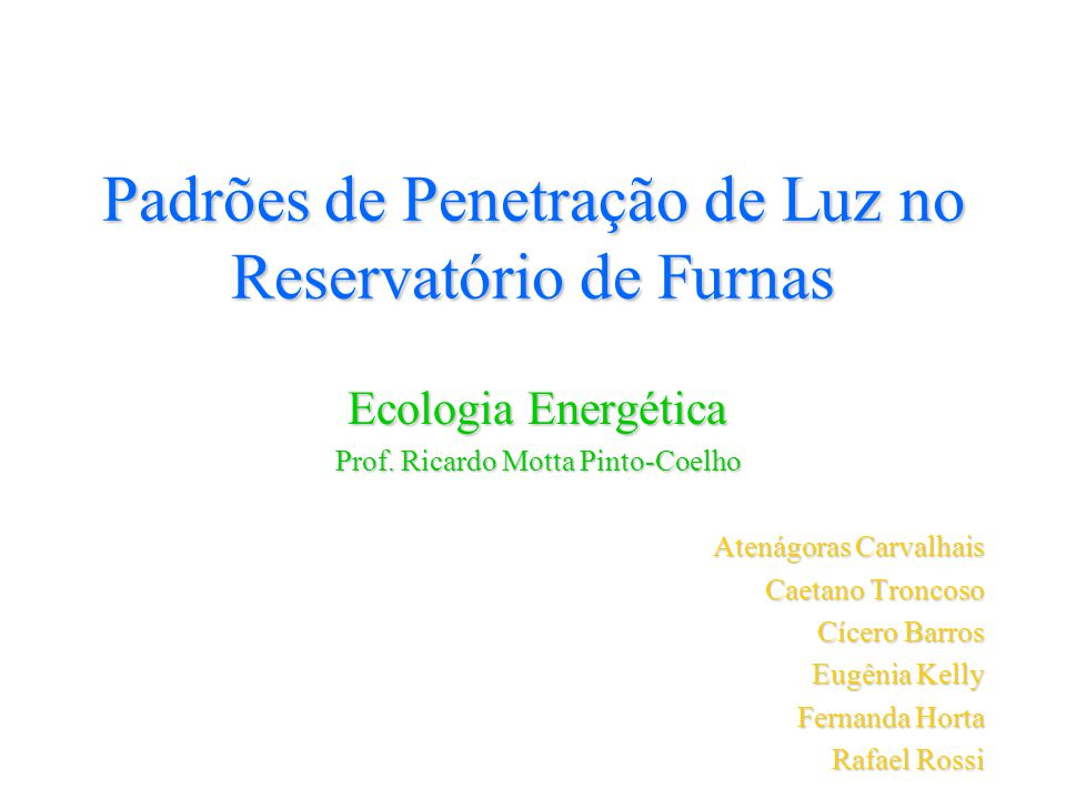 Padrões de Penetração de Luz no Reservatório de Furnas Ecologia Energética Prof. Ricardo Motta Pinto-Coelho Atenágoras Carvalhais Caetano Troncoso Cíc
