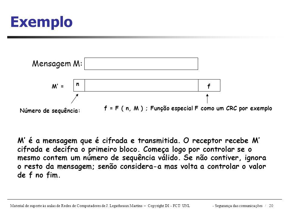 Material de suporte às aulas de Redes de Computadores de J. Legatheaux Martins – Copyright DI - FCT/ UNL- Segurança das comunicações / 20 Exemplo Mens