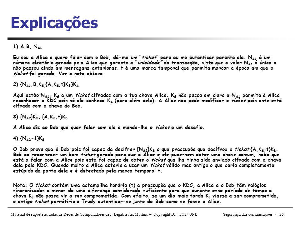 Material de suporte às aulas de Redes de Computadores de J. Legatheaux Martins – Copyright DI - FCT/ UNL- Segurança das comunicações / 26 Explicações