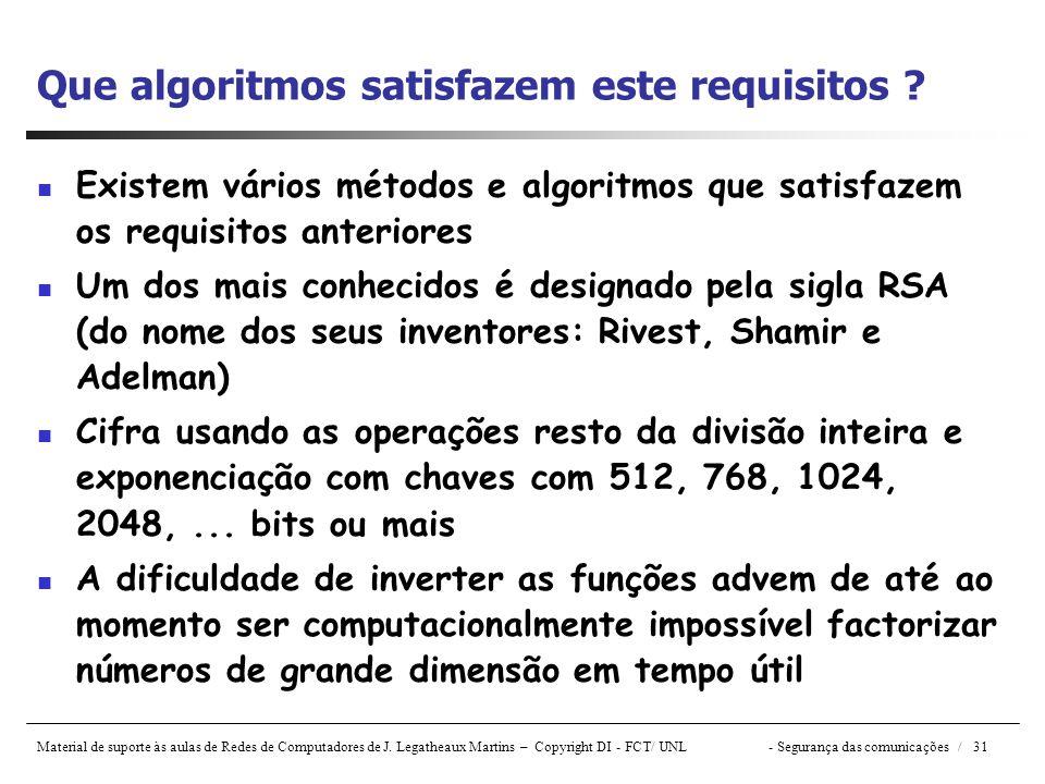 Material de suporte às aulas de Redes de Computadores de J. Legatheaux Martins – Copyright DI - FCT/ UNL- Segurança das comunicações / 31 Que algoritm