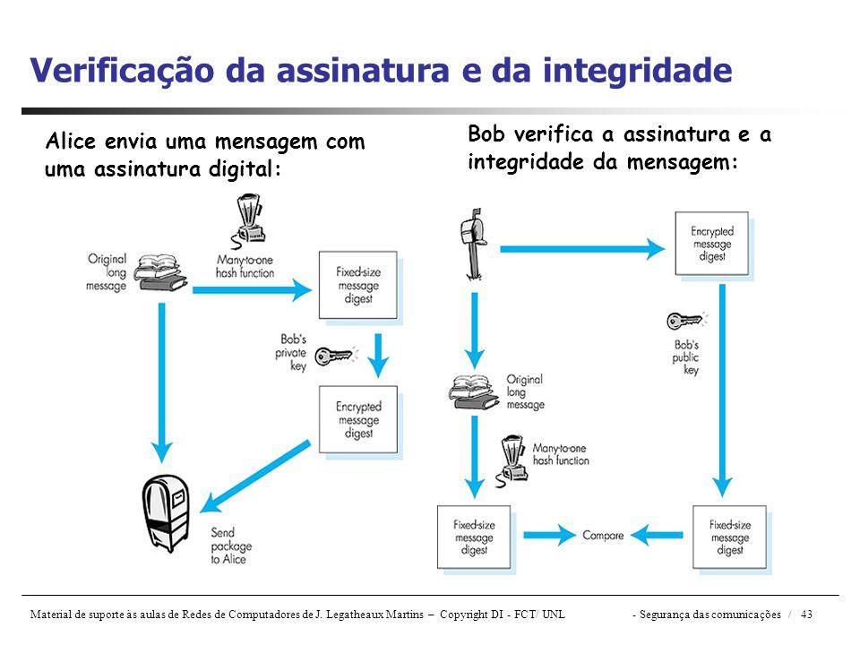 Material de suporte às aulas de Redes de Computadores de J. Legatheaux Martins – Copyright DI - FCT/ UNL- Segurança das comunicações / 43 Verificação