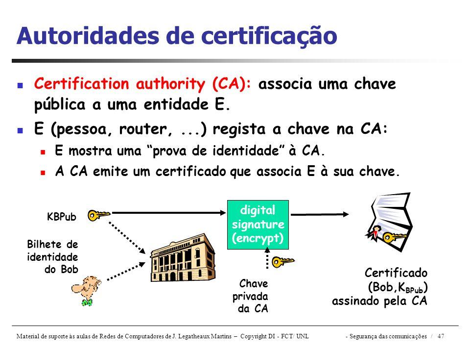 Material de suporte às aulas de Redes de Computadores de J. Legatheaux Martins – Copyright DI - FCT/ UNL- Segurança das comunicações / 47 Autoridades