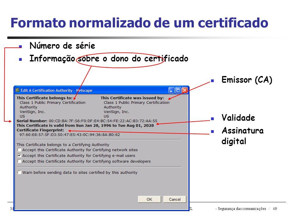 Material de suporte às aulas de Redes de Computadores de J. Legatheaux Martins – Copyright DI - FCT/ UNL- Segurança das comunicações / 49 Formato norm