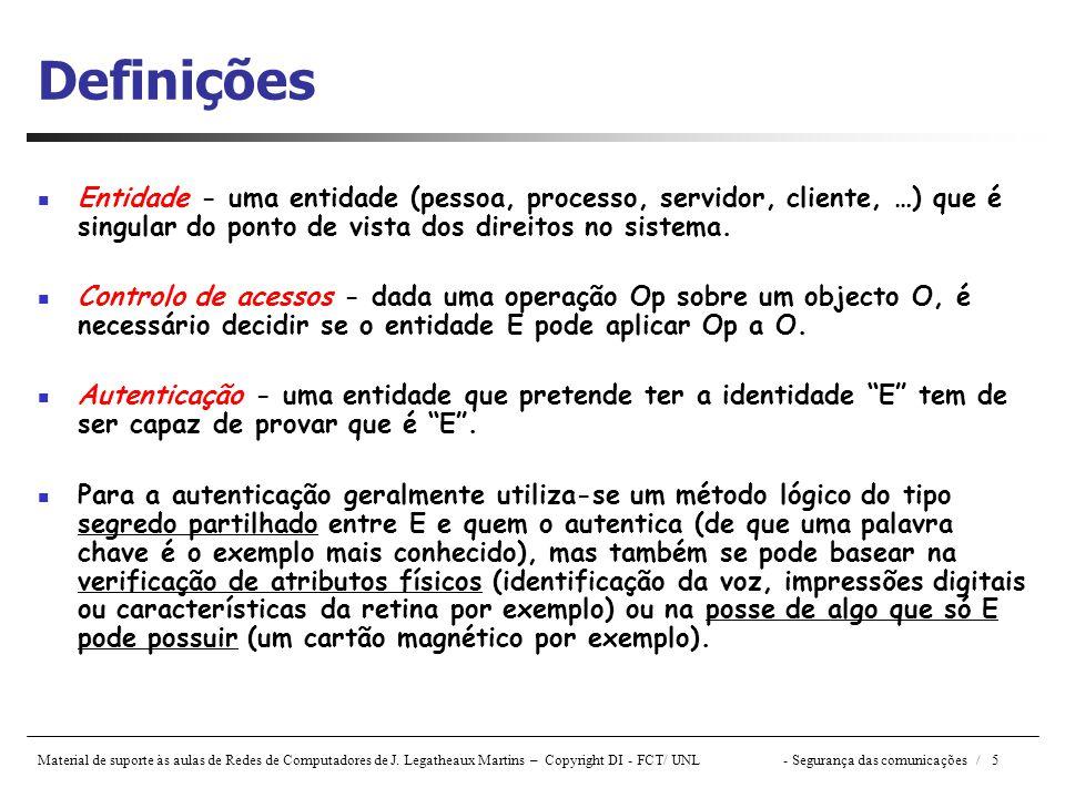 Material de suporte às aulas de Redes de Computadores de J. Legatheaux Martins – Copyright DI - FCT/ UNL- Segurança das comunicações / 5 Definições En