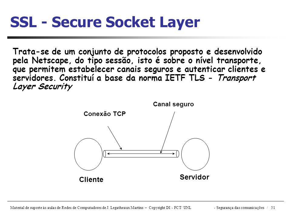 Material de suporte às aulas de Redes de Computadores de J. Legatheaux Martins – Copyright DI - FCT/ UNL- Segurança das comunicações / 51 SSL - Secure