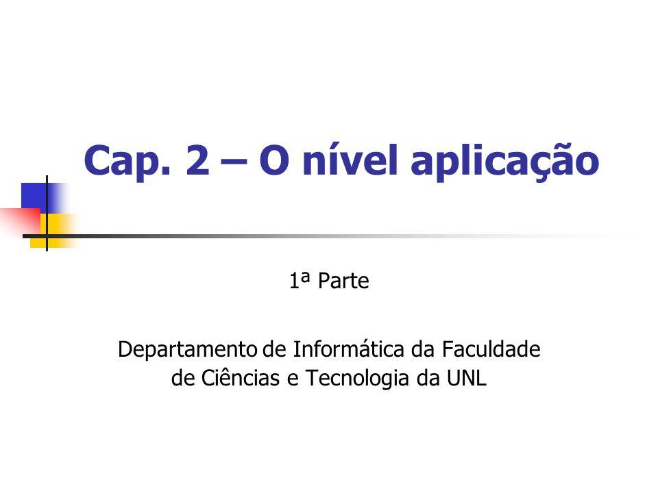 Cap. 2 – O nível aplicação 1ª Parte Departamento de Informática da Faculdade de Ciências e Tecnologia da UNL