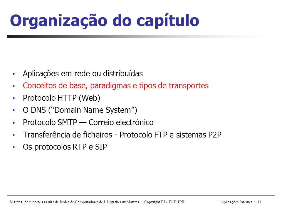 Material de suporte às aulas de Redes de Computadores de J. Legatheaux Martins – Copyright DI - FCT/ UNL – Aplicações Internet / 11 Organização do cap