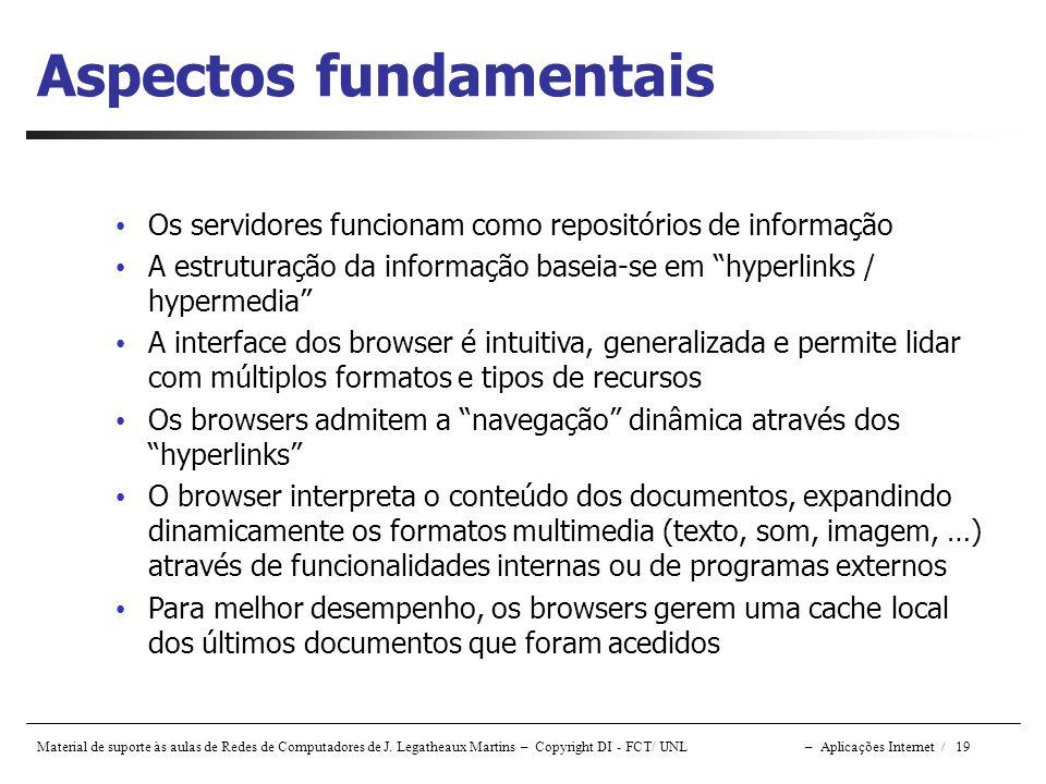 Material de suporte às aulas de Redes de Computadores de J. Legatheaux Martins – Copyright DI - FCT/ UNL – Aplicações Internet / 19 Aspectos fundament