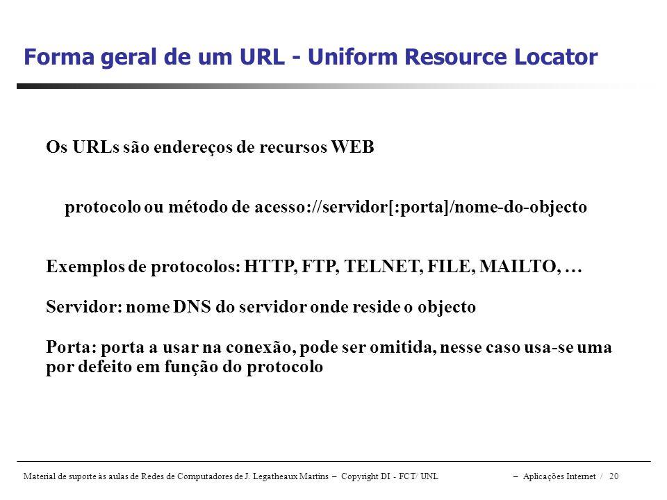 Material de suporte às aulas de Redes de Computadores de J. Legatheaux Martins – Copyright DI - FCT/ UNL – Aplicações Internet / 20 Forma geral de um