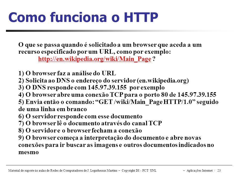 Material de suporte às aulas de Redes de Computadores de J. Legatheaux Martins – Copyright DI - FCT/ UNL – Aplicações Internet / 23 Como funciona o HT