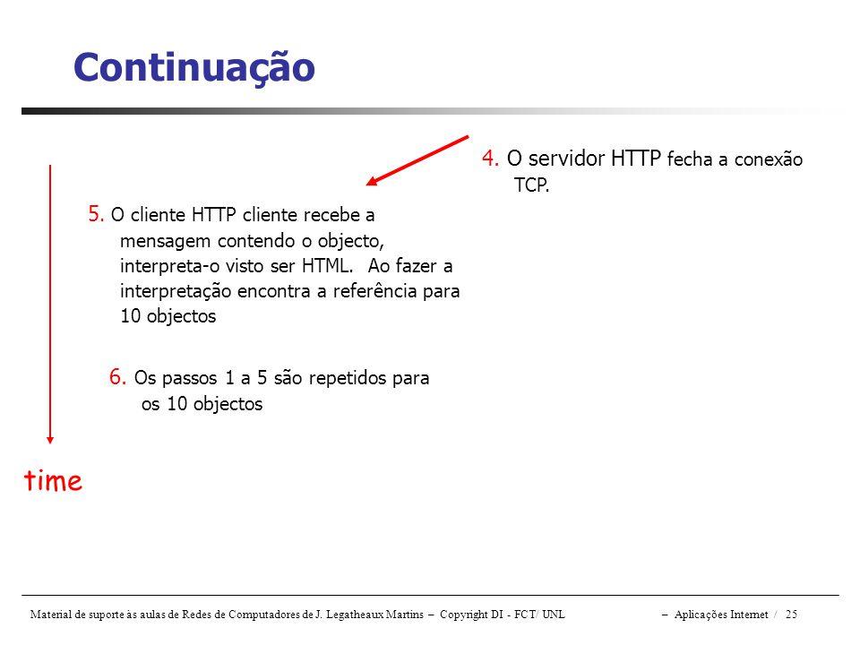 Material de suporte às aulas de Redes de Computadores de J. Legatheaux Martins – Copyright DI - FCT/ UNL – Aplicações Internet / 25 Continuação 5. O c