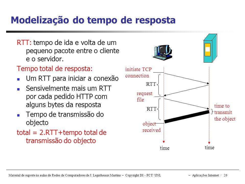 Material de suporte às aulas de Redes de Computadores de J. Legatheaux Martins – Copyright DI - FCT/ UNL – Aplicações Internet / 26 Modelização do tem