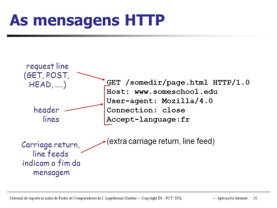 Material de suporte às aulas de Redes de Computadores de J. Legatheaux Martins – Copyright DI - FCT/ UNL – Aplicações Internet / 28 As mensagens HTTP