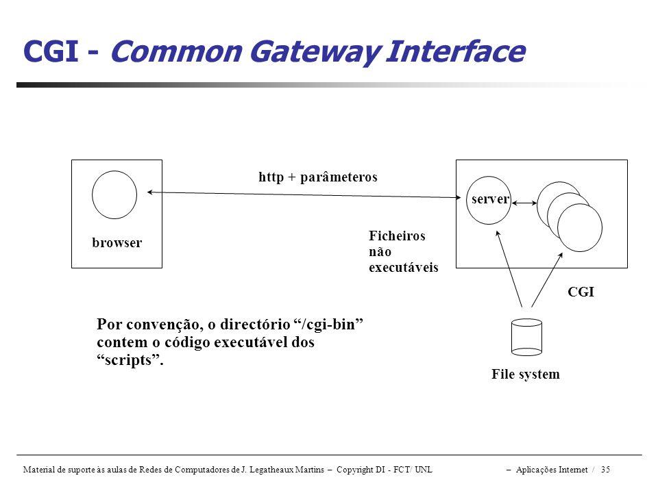 Material de suporte às aulas de Redes de Computadores de J. Legatheaux Martins – Copyright DI - FCT/ UNL – Aplicações Internet / 35 CGI - Common Gatew