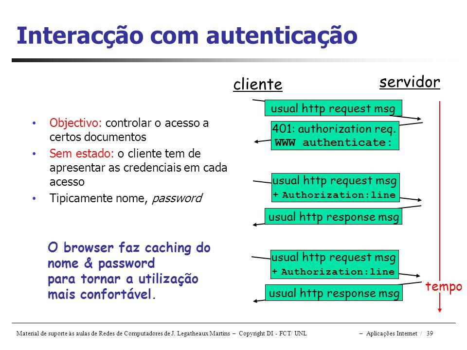 Material de suporte às aulas de Redes de Computadores de J. Legatheaux Martins – Copyright DI - FCT/ UNL – Aplicações Internet / 39 Interacção com aut