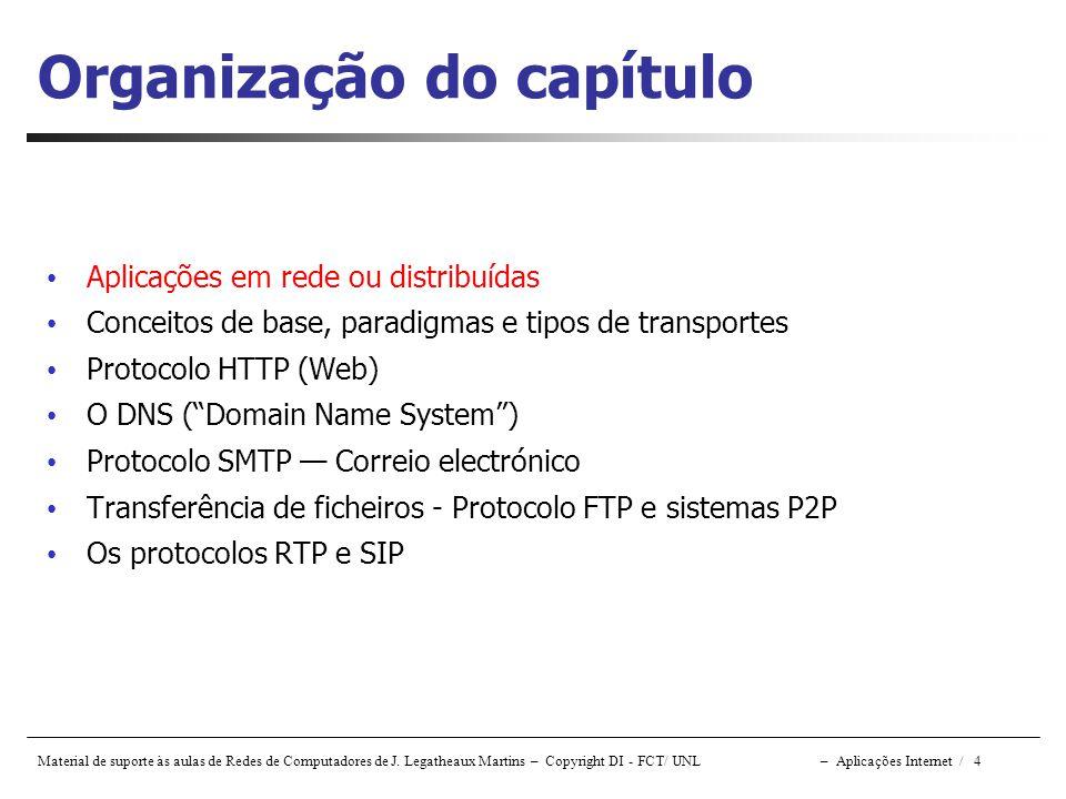 Material de suporte às aulas de Redes de Computadores de J. Legatheaux Martins – Copyright DI - FCT/ UNL – Aplicações Internet / 4 Organização do capí