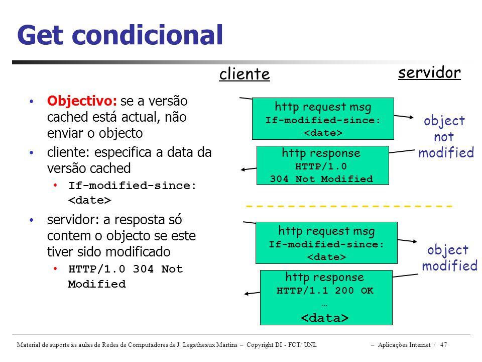 Material de suporte às aulas de Redes de Computadores de J. Legatheaux Martins – Copyright DI - FCT/ UNL – Aplicações Internet / 47 Get condicional Ob