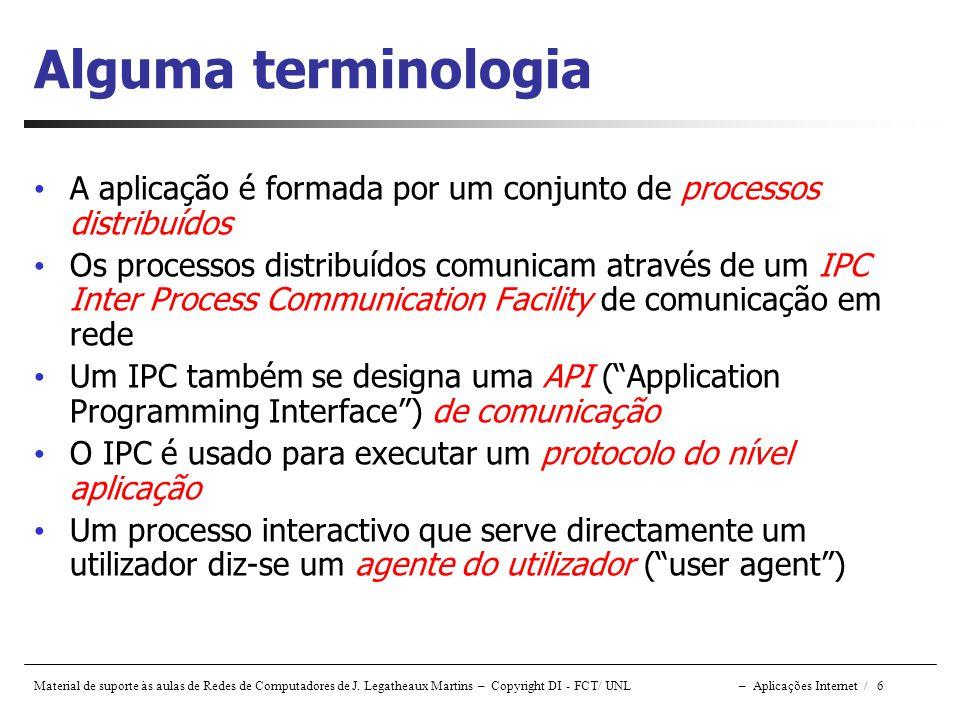 Material de suporte às aulas de Redes de Computadores de J. Legatheaux Martins – Copyright DI - FCT/ UNL – Aplicações Internet / 6 Alguma terminologia