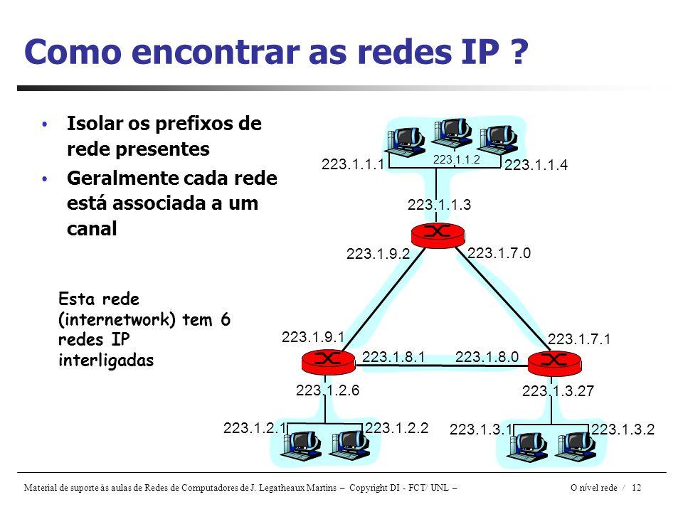 Material de suporte às aulas de Redes de Computadores de J. Legatheaux Martins – Copyright DI - FCT/ UNL – O n í vel rede / 12 Como encontrar as redes