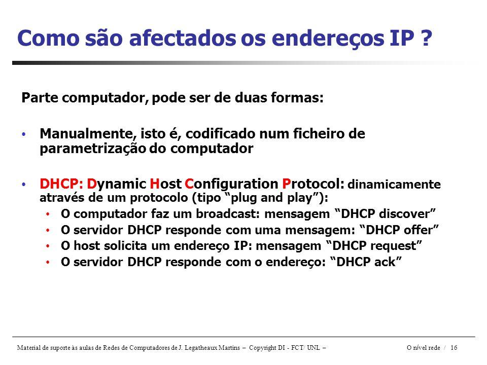 Material de suporte às aulas de Redes de Computadores de J. Legatheaux Martins – Copyright DI - FCT/ UNL – O n í vel rede / 16 Como são afectados os e