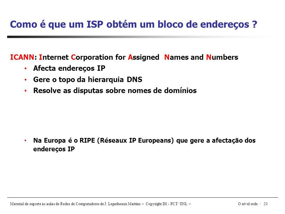 Material de suporte às aulas de Redes de Computadores de J. Legatheaux Martins – Copyright DI - FCT/ UNL – O n í vel rede / 20 Como é que um ISP obtém