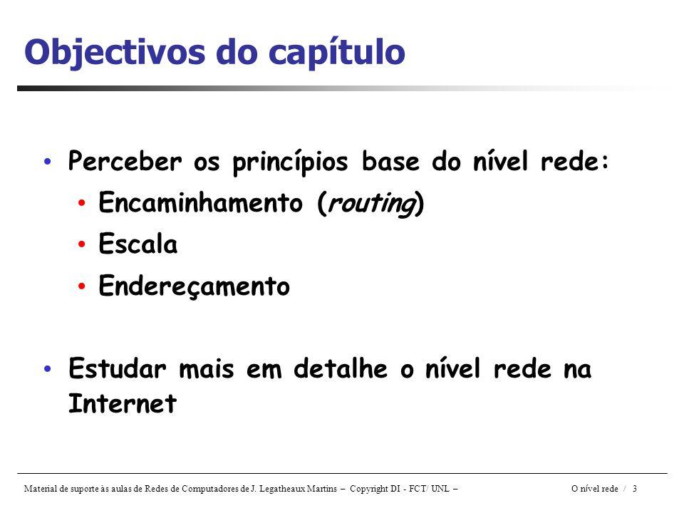 Material de suporte às aulas de Redes de Computadores de J. Legatheaux Martins – Copyright DI - FCT/ UNL – O n í vel rede / 3 Objectivos do capítulo P