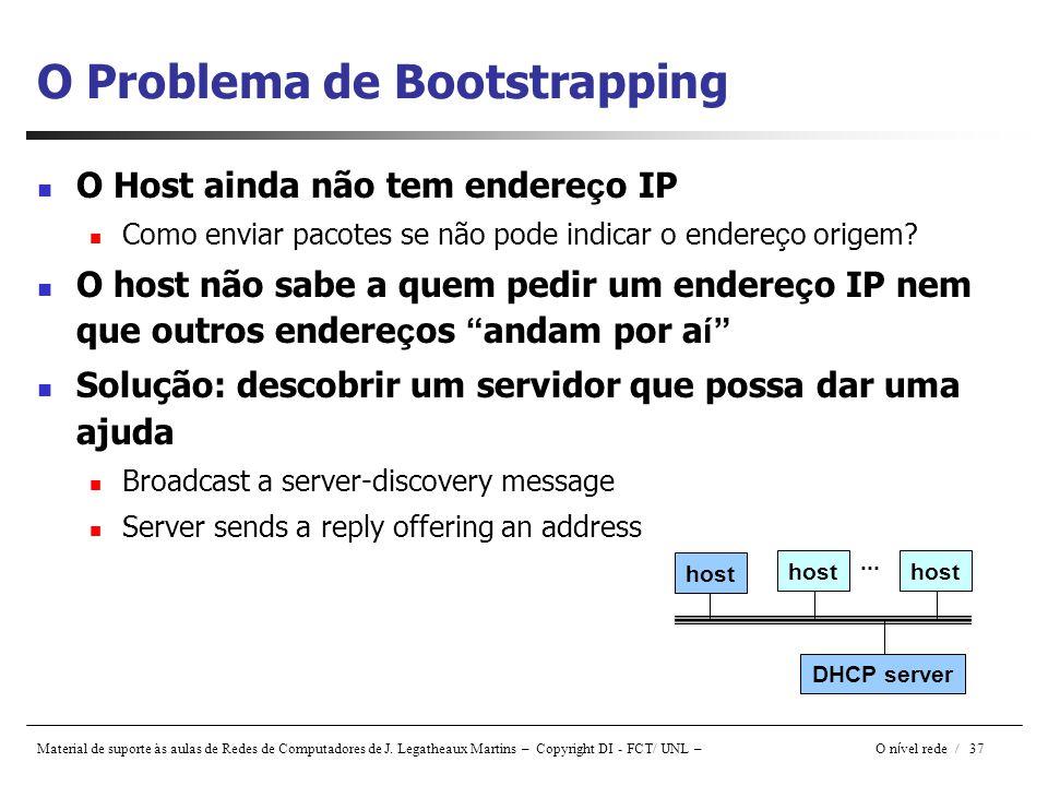 Material de suporte às aulas de Redes de Computadores de J. Legatheaux Martins – Copyright DI - FCT/ UNL – O n í vel rede / 37 O Problema de Bootstrap