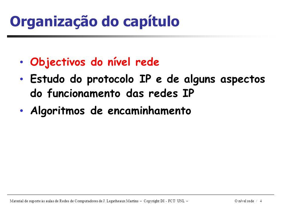 Material de suporte às aulas de Redes de Computadores de J. Legatheaux Martins – Copyright DI - FCT/ UNL – O n í vel rede / 4 Organização do capítulo
