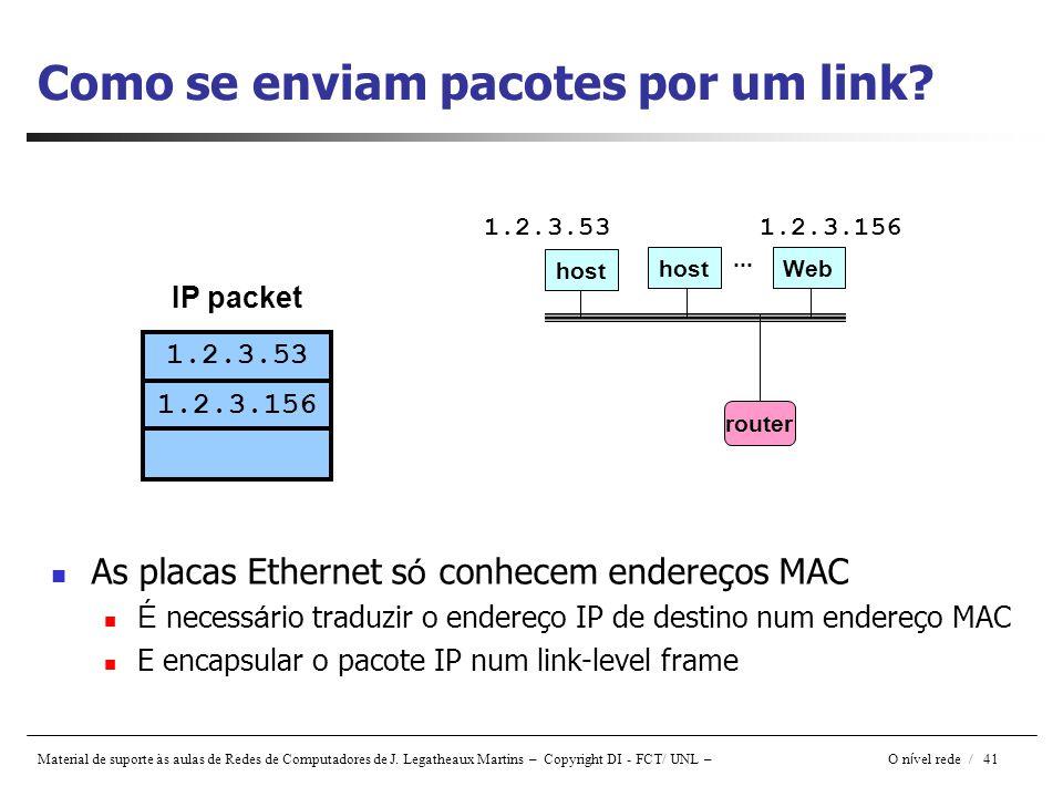 Material de suporte às aulas de Redes de Computadores de J. Legatheaux Martins – Copyright DI - FCT/ UNL – O n í vel rede / 41 Como se enviam pacotes