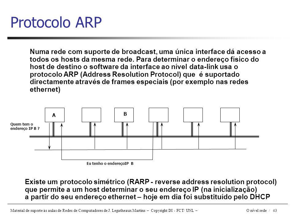 Material de suporte às aulas de Redes de Computadores de J. Legatheaux Martins – Copyright DI - FCT/ UNL – O n í vel rede / 43 Protocolo ARP Numa rede