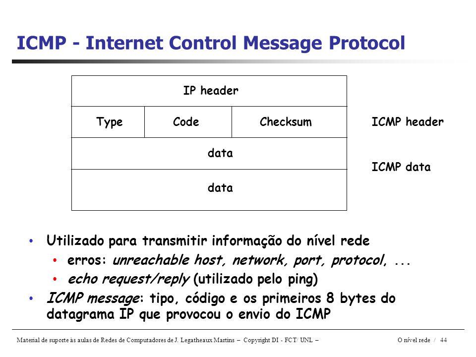Material de suporte às aulas de Redes de Computadores de J. Legatheaux Martins – Copyright DI - FCT/ UNL – O n í vel rede / 44 ICMP - Internet Control