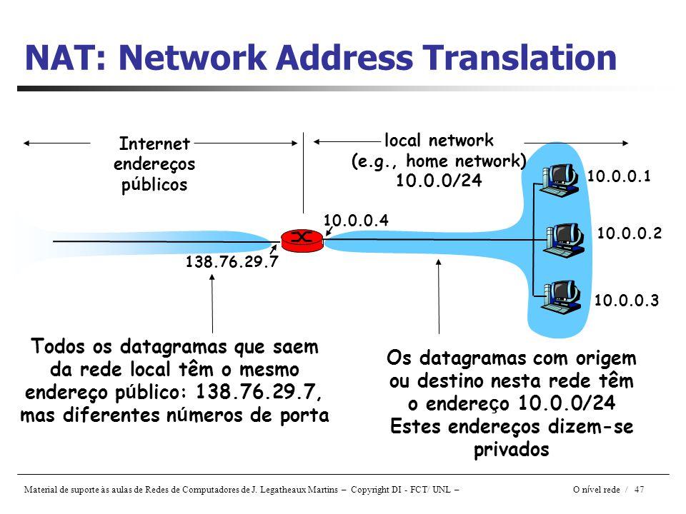 Material de suporte às aulas de Redes de Computadores de J. Legatheaux Martins – Copyright DI - FCT/ UNL – O n í vel rede / 47 NAT: Network Address Tr