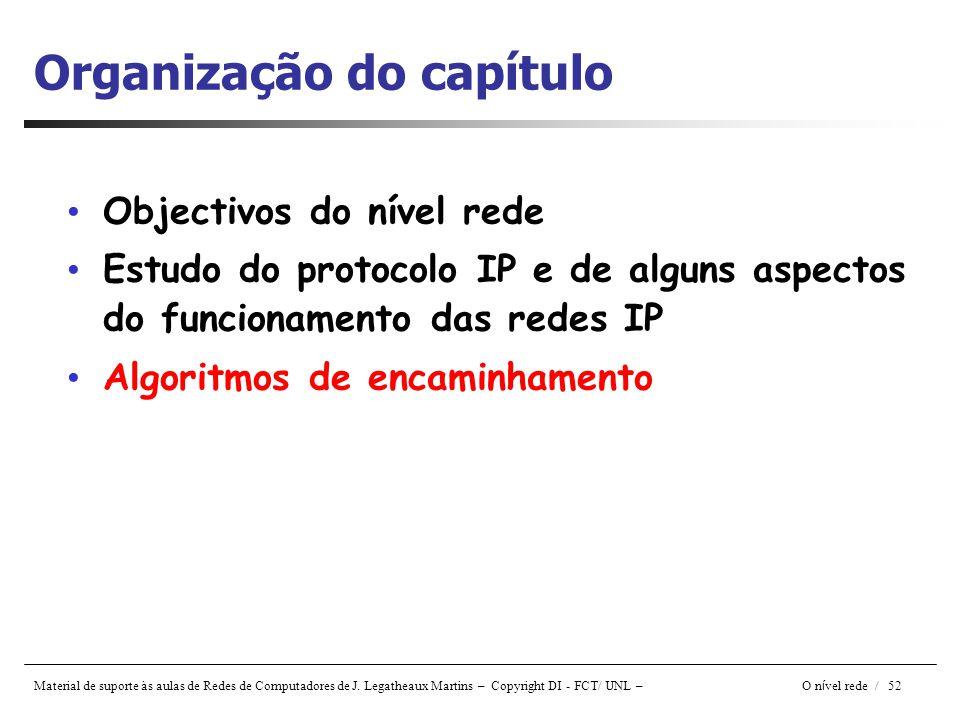 Material de suporte às aulas de Redes de Computadores de J. Legatheaux Martins – Copyright DI - FCT/ UNL – O n í vel rede / 52 Organização do capítulo
