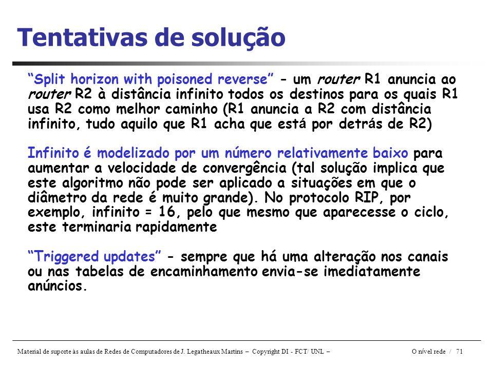 """Material de suporte às aulas de Redes de Computadores de J. Legatheaux Martins – Copyright DI - FCT/ UNL – O n í vel rede / 71 Tentativas de solução """""""