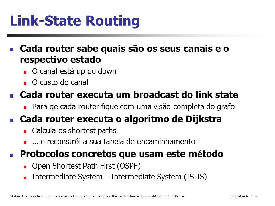 Material de suporte às aulas de Redes de Computadores de J. Legatheaux Martins – Copyright DI - FCT/ UNL – O n í vel rede / 76 Link-State Routing Cada