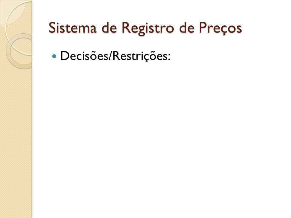Sistema de Registro de Preços Decisões/Restrições: