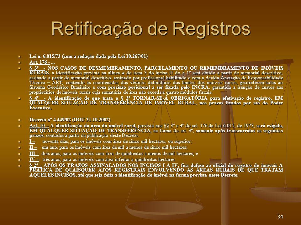 34 Retificação de Registros Lei n. 6.015/73 (com a redação dada pela Lei 10.267/01) Lei n. 6.015/73 (com a redação dada pela Lei 10.267/01) Art. 176 -