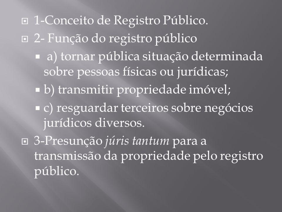  1-Conceito de Registro Público.  2- Função do registro público  a) tornar pública situação determinada sobre pessoas físicas ou jurídicas;  b) tr