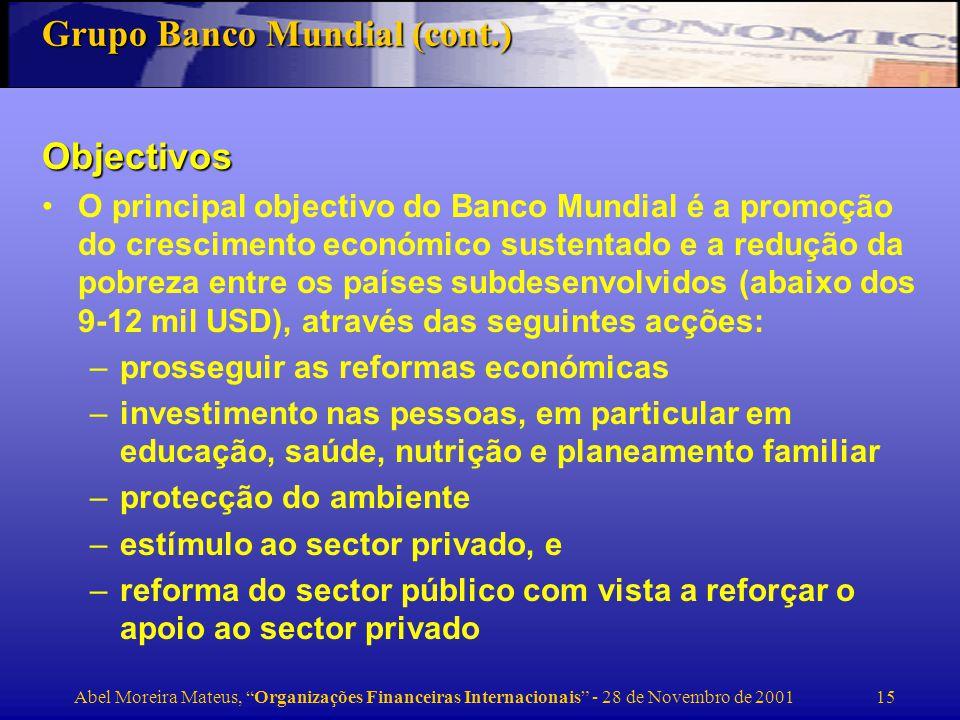 Abel Moreira Mateus, Organizações Financeiras Internacionais - 28 de Novembro de 2001 16 Número de votos EUA14,9% Japão10,6% Alemanha 7,0% França 4,2% Reino Unido 5,0% Bélgica, Austria, etc.